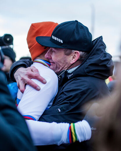 Adrie congratulates his son on winning the 2019 CX